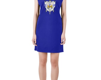 Sigma Gamma Rho, v neck dress, summer attire, day to evening, sgrho, pretty, poodle, blue and gold, black, greek, sorority, probate, gift