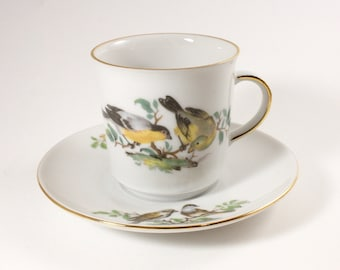 """Vintage, Tea Cup, Saucer, Bird, Lovebirds, Drinkware, Teacup and saucer, INARCO West Germany, Winterling Bavaria Germany, 2 1/4"""" Tall"""