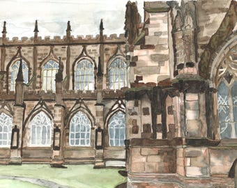 Original Watercolor Painting | Chester Cathedral | Chester, England | Cathedral | Watercolor Painting | Painting | Architecture Painting