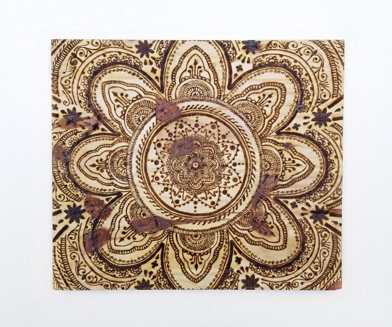 Mandala Wood Burning Wall Art Handmade Original Design Pyrography Art Home Decor Henna Mandala Wall Art Wood Mandala Wall Decor
