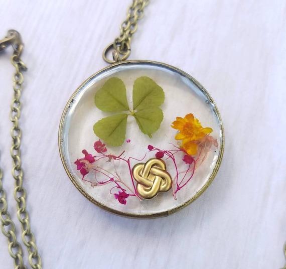 Real Four Leaf Clover Celtic Knot Pendant Authentic 4 Leaf | Etsy