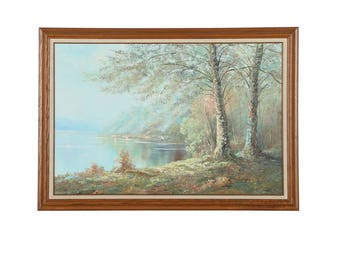 Original Impressionist Style Oil Painting on Canvas of Lakeside Scene