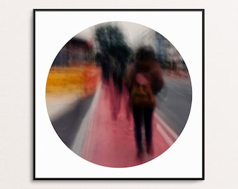 Red Walkers: Abstract Urban Landscapes - Circle - Digital Download Printable Wall Art for Multiple Frame Sizes | Fine Art Photography