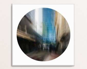 Blue Tower: Abstract Urban Landscapes - Circle - Digital Download Printable Wall Art for Multiple Frame Sizes | Fine Art Photography