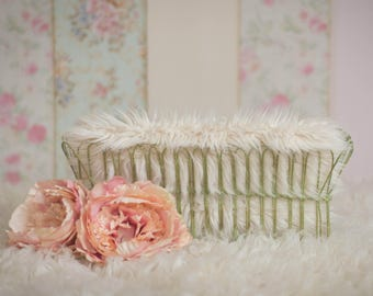 Wire basket and flowers newborn photographer digital backdrop/background