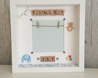 1st Birthday Frame First Present Scrabble Personalised Childs