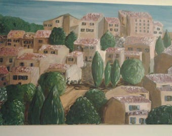 painting on canvas - village in South of the France