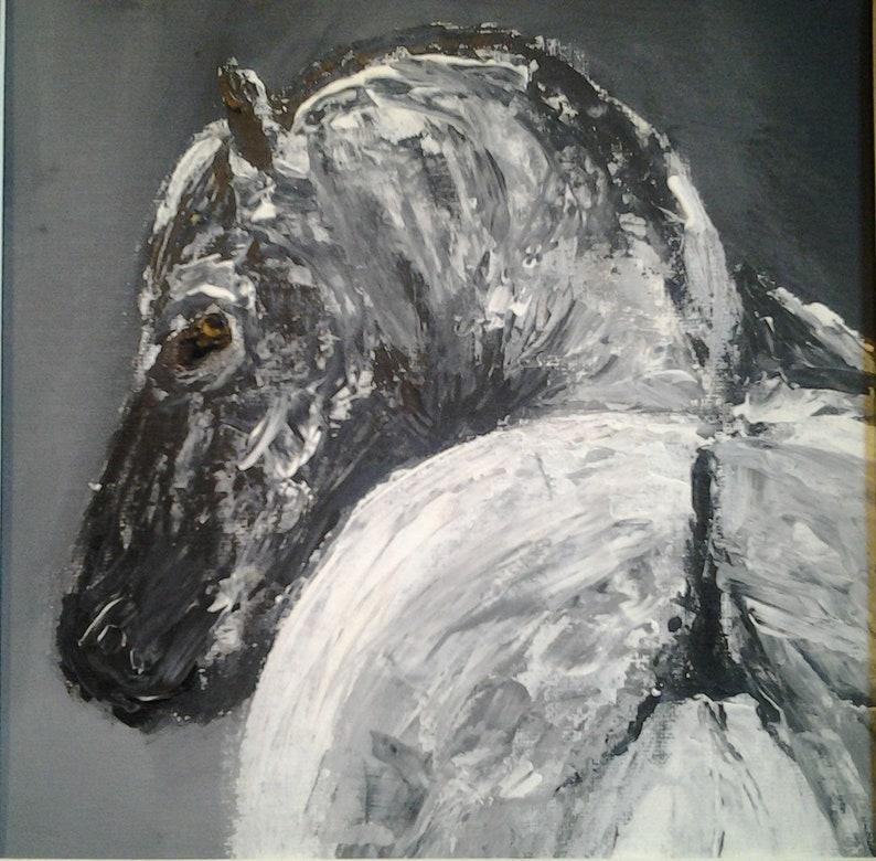 Square Acrylic Painting Original Black And White Horse Etsy