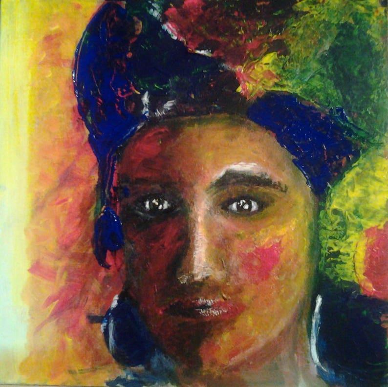 Tableau Peinture Acrylique Portrait De Femme Du Monde Etsy