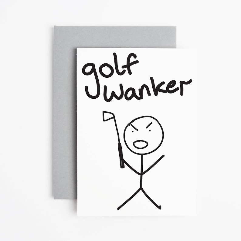 Golf Birthday Card Wanker Blank