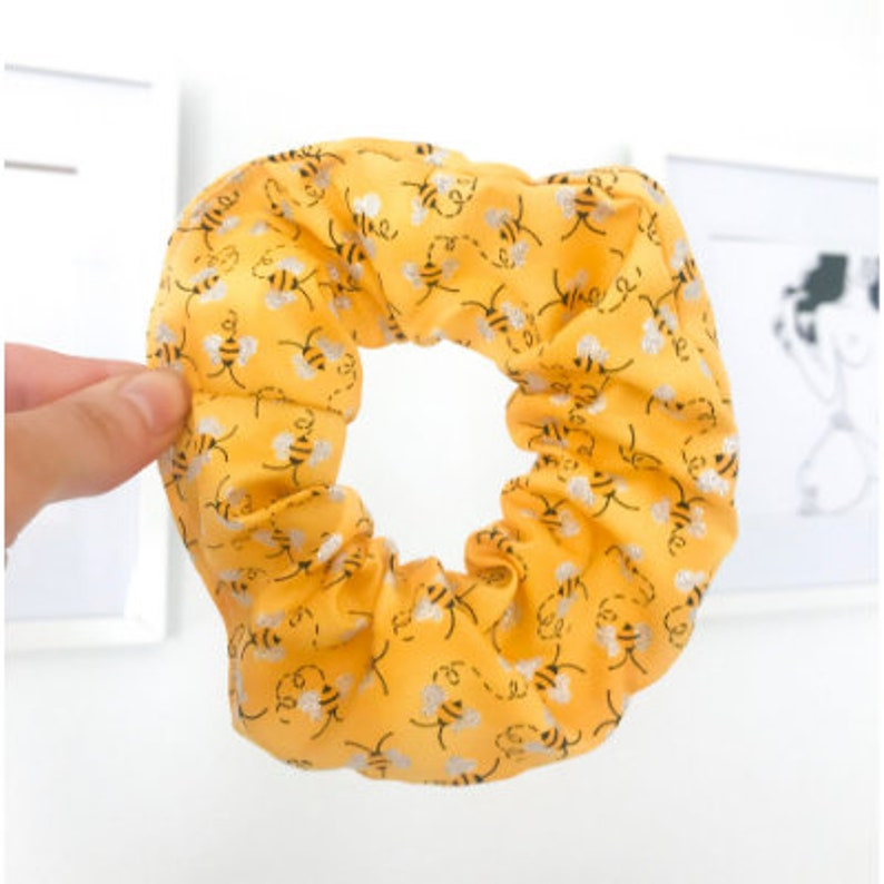 Bee Scrunchie Quirky Yellow Honey Bumble Bee Scrunchy Handmade image 0