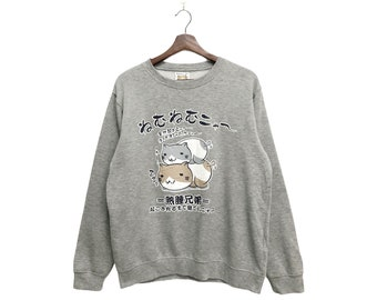 NecoBhuci-San sweatshirt Big logo print pullover jumperJapan brandstreetwear cartoonfashionstylecrewneck Rare