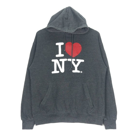 I Love NY Vintage 90s Hoodie Pullover Jumper Sweat
