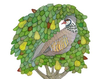 Partridge in a Pear Tree, Christmas Card, Holiday Decor