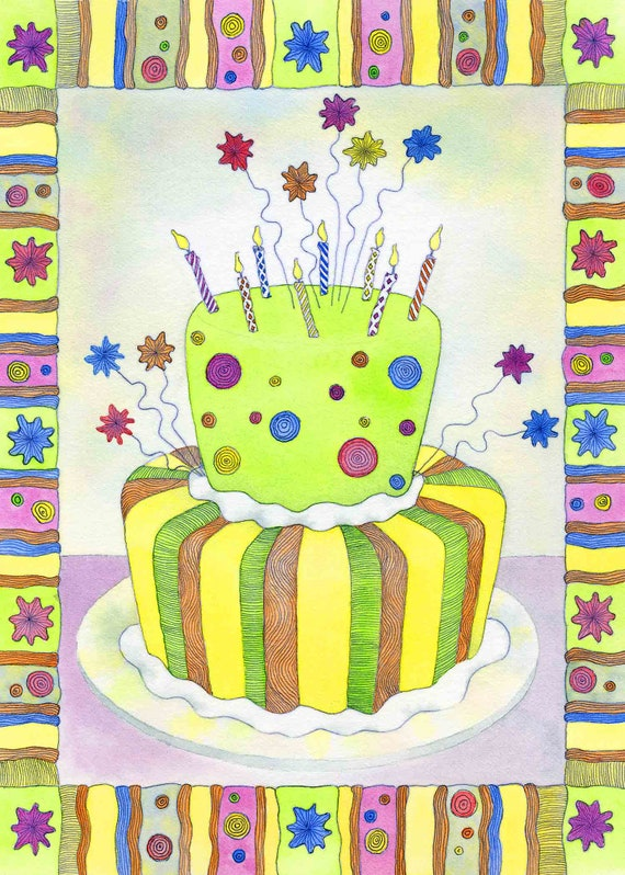 Enjoyable Birthday Cake Whimsical Cake Birthday Card 5 X 7 Birthday Etsy Funny Birthday Cards Online Alyptdamsfinfo