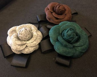 Camelia fabric brooch chanel flower artdeco 20s 30s wool bow bowknot costume accessories