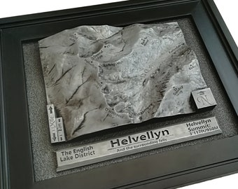 Silver Helvellyn 3D raised relief map ideal Lake District gift or present for Wainwright and Fell walk lovers with personalised text option