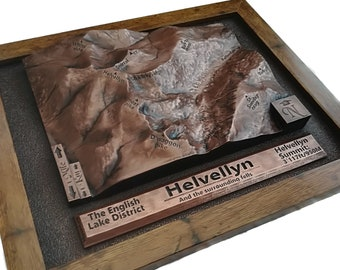 Copper Helvellyn 3D raised relief map ideal Lake District gift or present for Wainwright and Fell walk lovers with personalised text option