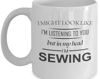 Working Yet Sewing Mug. Gift For Sewing Lover. Funny Sewing Gift. 11oz 15oz Coffee Mug.