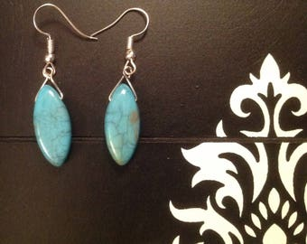 Fancy turquoise and silver Earrings is hand pierced DIY earrings