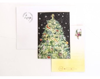 Christmas tree postcards, set of 2