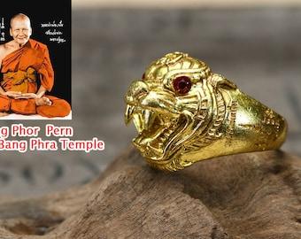 The Ring Of Tiger Red Eye Yan Tra Luang Phor Pern Wat Bang Phra Thai Talisman Amulet Power Nice Magic Charm Brass Size 21 25 Mm