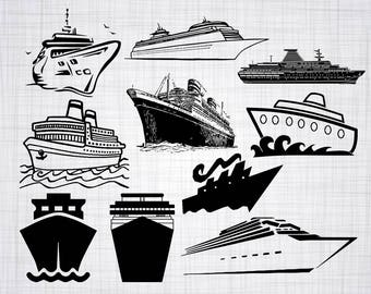 Cruise Ship SVG Bundle Clipart Cut Files For Silhouette Cricut Vector Svg Dxf Png Eps Design