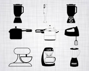 Kitchen Appliances SVG Bundle Clipart Cut Files For Silhouette Cricut Vector Cooking Svg Dxf Png Design