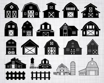 Barn SVG Bundle Farm Clipart Cut Files For Silhouette Cricut Vector Svg Dxf Png Eps Design