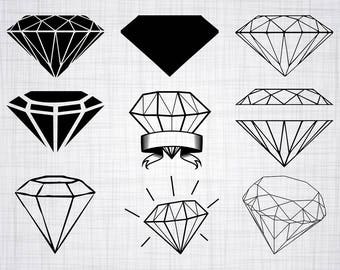 Diamond SVG Bundle, Diamond SVG, Diamond Clipart, Diamond Cut Files For Silhouette, Files for Cricut, Vector, Wedding Diamond Svg, Png Decal