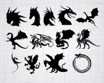 Dragon SVG Bundle, Dragon SVG, Dragon Clipart, Dragon Cut Files For Silhouette, Files for Cricut, Dragon Vector, Svg, Dxf, Png, Eps, Decal