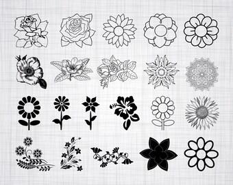 Flower SVG Bundle, Flower SVG, Flower Clipart, Cut Files For Silhouette, Flower Files for Cricut, Flower Vector, Svg, Dxf, Png, Eps, Decal