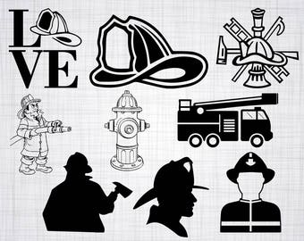 Fireman SVG Bundle, Firefighter SVG, Fireman Clipart, Cut Files For Silhouette, Files for Cricut, Vector, Fireman Svg, Dxf, Png, Eps, Decal