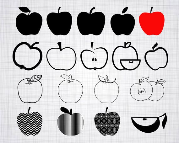 Apple Svg Bundle Apple Svg Apple Clipart Apple Cut Files Etsy