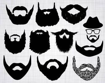Beard SVG Bundle, Beard SVG, Beard Clipart, Beard Cut Files For Silhouette, Files for Cricut, Vector, Facial Hair Svg, Dxf, Png, Eps, Decal
