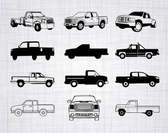 Pickup Truck SVG Bundle, Pickup Truck SVG, Pickup Truck Clipart, Cut Files For Silhouette, Files for Cricut, Vector, Svg, Dxf, Png, Decal