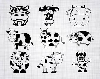 Cute Cow SVG Bundle, Cute Cow SVG, Cute Cow Clipart, Cut Files For Silhouette, Files for Cricut, Cute Cow Vector, Cow Svg, Dxf, Png, Decal