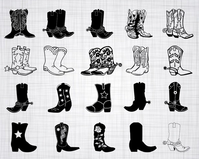Cowboy Boots SVG Bundle, Cowgirl Boots SVG, Cowboy Boots Clipart, Cut Files  For Silhouette, Files for Cricut, Vector, Svg, Dxf, Png, Design