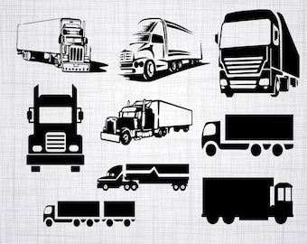 Truck SVG Bundle, Truck SVG, Truck Clipart, Cut Files For Silhouette, Files for Cricut, 18 Wheeler Vector, Long Haul Svg, Dxf, Png, Decal