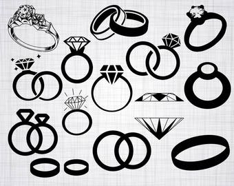 Engagement Ring SVG Bundle, Diamond Ring SVG, Clipart, Cut Files For Silhouette, Files for Cricut, Vector, Wedding Ring Svg, Png, Eps, Decal