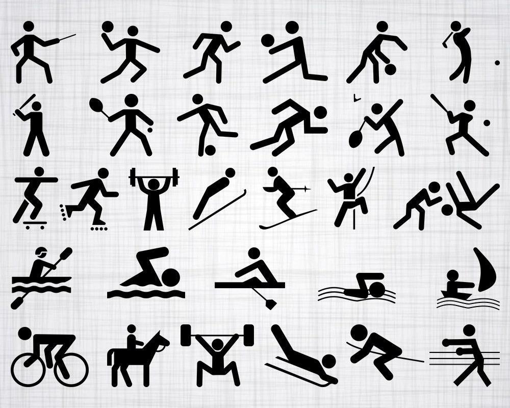 Sport Symbols Svg Bundle Sport Icons Svg Sport Clipart Cut Etsy