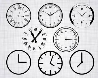 Clock SVG Bundle, Watch SVG, Clock Clipart, Cut Files For Silhouette, Files for Cricut, Vector, Time Svg, Wall Clock Svg, Dxf, Png, Decal