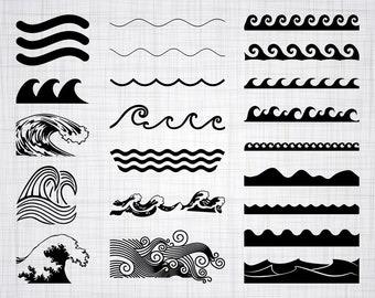 Wave SVG Bundle, Wave SVG, Wave Clipart, Wave Cut Files For Silhouette, Files for Cricut, Wave Vector, Ocean Waves Svg, Dxf, Png, Wave Decal