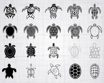 Turtle SVG Bundle, Turtle SVG, Tortoise Svg, Turtle Clipart, Turtle Cut Files For Silhouette, Files for Cricut, Turtle Vector, Dxf, Png, Eps