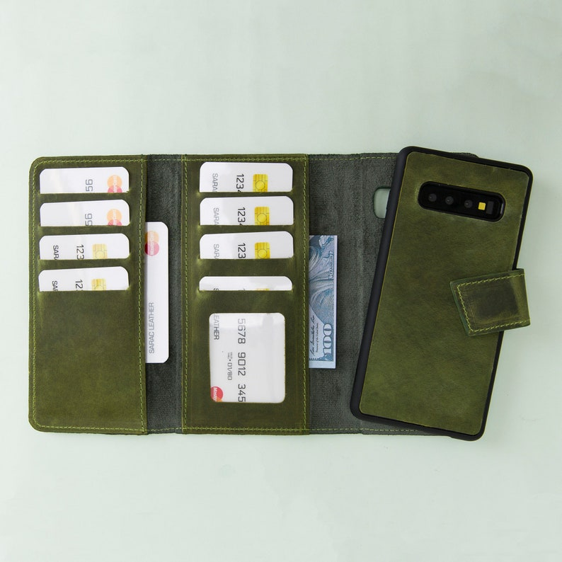 new product 35767 204a1 Galaxy S10 Green Leather Magnetic Detachable Wallet Case, Galaxy S10 Case,  Customized Wallet, Wireless Charging, Laser Engrave