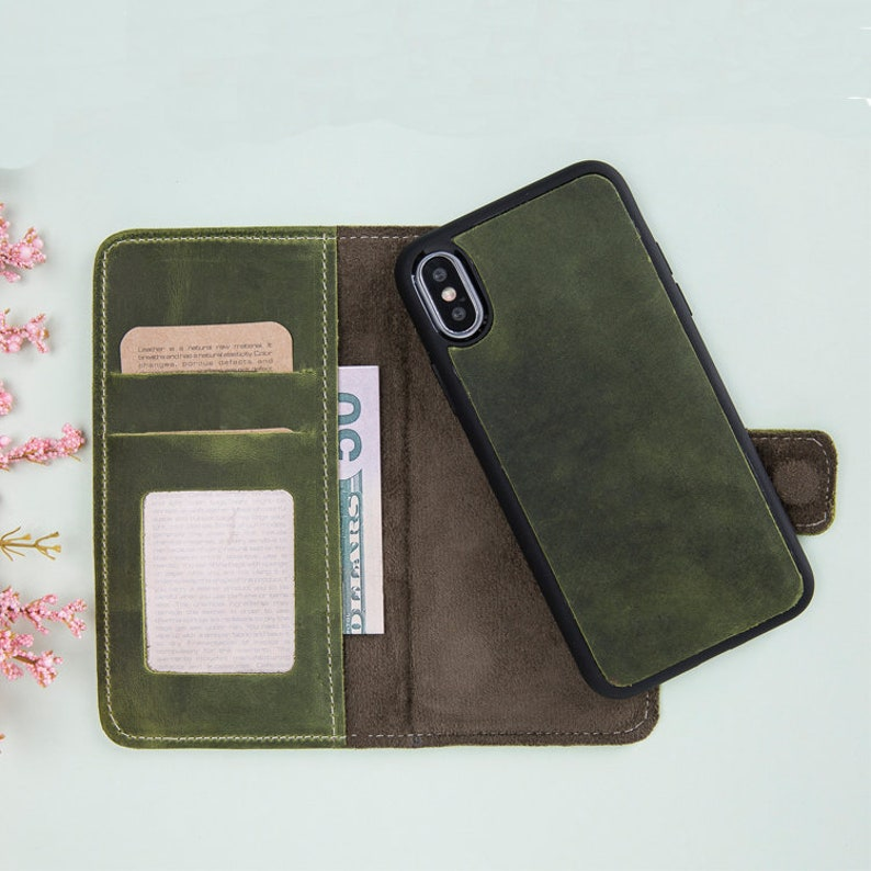 buy online c7e81 45d10 Green Leather iPhone X Case, iPhone X Wallet Case, iPhone X Case Wallet,  iPhone X Magnetic Detachable Leather Case, iPhone Leather Cases