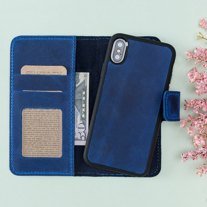 best website c8100 a8616 iPhone X Blue Leather Wallet Case, Magnetic Detachable iPhone X Leather  Case Wallet, iPhone X Case, iPhone X Wallet, iPhone Leather Case