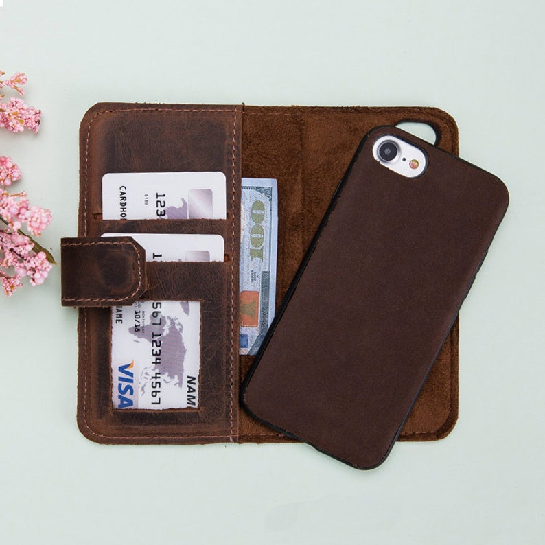 a97780001c7e iPhone 6S Brown Leather Magnetic Detachable Wallet Case, iPhone 6S Plus  Leather Case Wallet, iPhone 6 Wallet Case, iPhone 6 Plus Case, Gift