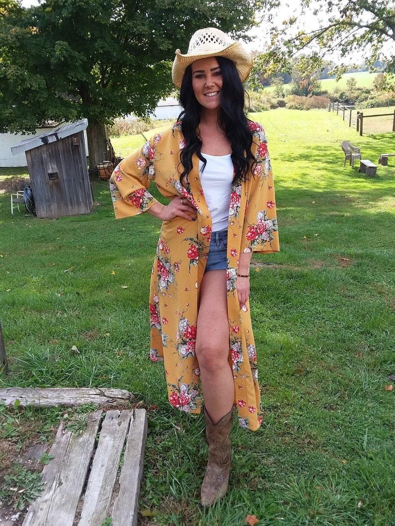 long cardigan long topper long kimono cardigan boho mustard floral yellow jacket kimono topper duster bohemian petite mustard
