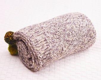 HARPER GREY Merino Wool Handmade Baby Blanket